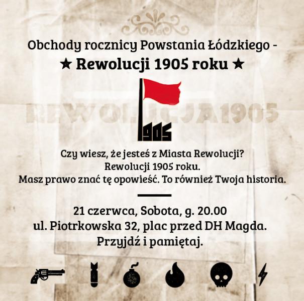 Plakat promujący obchody rocznicy Powstania Łódzkiego Rewolucji 1905 r.
