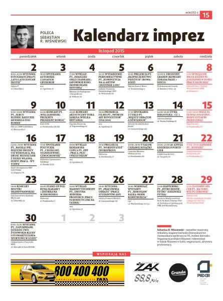 Miasto Ł 11.2015 - kalendarz