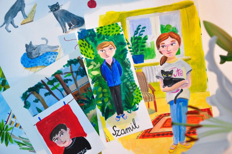 Ilustracje do książki autorstwa Alicji Woźnikowskiej-Woźniak ze studia Dinksy. Fot. Justyna Świerczek